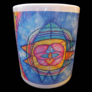 cup with sudarshana yantra print